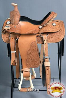 15 in Western Horse Saddle Leather Cowboy Trail Ranch Roping Tan U-5-15