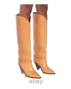 $1600 Isabel Marant Lenskee Tan Leather Tall Cowboy Boots- 39 Blogger Fave