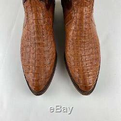 1883 Lucchese Mens Boots Brown & Tan Caiman Leather Size 12 Handmade Cowboy