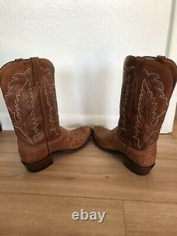 1883 Lucchese Ostrich Boots Size 11 D Barnwood/Tan NICE Full Quill Mens Cowboy
