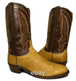 1883 by Lucchese Tan with Brown Leather Boots R Toe cowboy western Mens 14 D