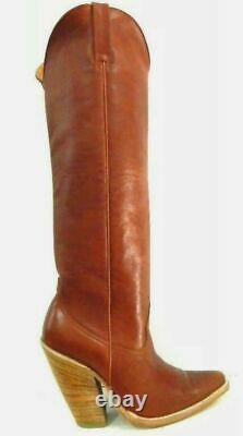 22 inches tall cowboy boots saddle tan leather and natural wood 5´´ high heels