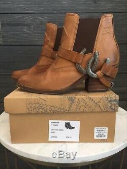 $248 Free People Lady Luck Tan Cowboy Ankle Boot Size EU 37 / US 7