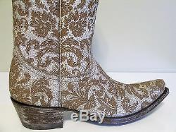 6.5 Old Gringo Nadia 13 Snip Toe Cowboy Western Boots white tan Floral $498 NEW