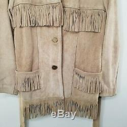 70s VINTAGE WOMEN'S TAN SUEDE LEATHER FRINGED JACKET WITH BELT COWGIRL WESTERN