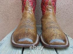 ANDERSON BEAN Mens Cowboy Western Boots Tan Red Bullhide Leather Ranch Size 10D