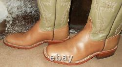 Anderson Bean 5475G natural tan sq toe leather boots 4900 9 D cowboy western