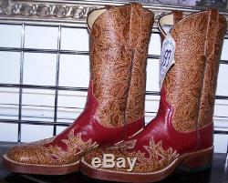 Anderson Bean Red Tooled Saddle Tan Wingtip Square Cowboy Boots 6B Ladies 7-7.5