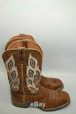 Ariat 10010271 Nighthawk 11 EE Tan OVERLAY Wide Square Toe Cowboy Riding Boots