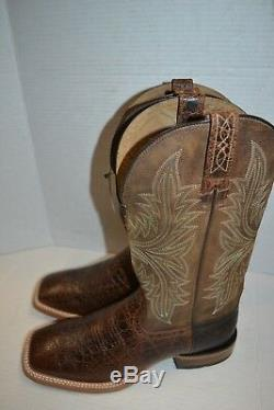 Ariat 10017381 Cowhand Pull On Tan Square Toe Western Cowboy Riding Boots 9 D