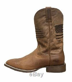 Ariat Men's Circuit Patriot Square Toe Western Boot, Weathered Tan, 9EE