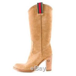 Authentic GUCCI Women's Tan Suede High Heeled Cowboy Boots. Sz 11