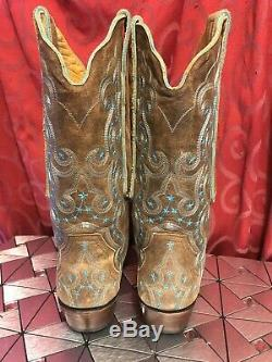 Awesome OLD GRINGO Cowboy Western Tan CELESTE BOOTS Turquoise Stars SIZE 8 1/2 B