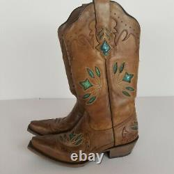 BLACK STAR Womens Sz 7 Leather Western Cowboy Embossed Boots Tan Green Hand Made