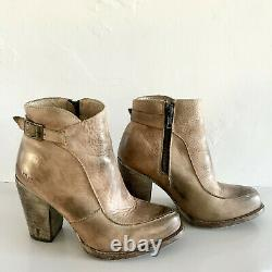 Bed Stu Isla Ankle Boots in a Distressed Tan Leather- 3 Block Heel