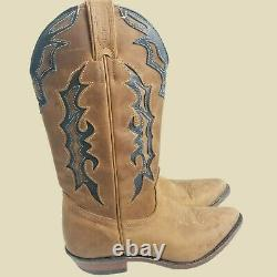 Boulet Inlaid Tan Cowboy Western Boots Womens 8