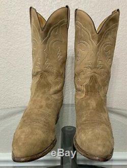 Boulet Mens Leather Suede Boots 10.5 10 1/2 E Made In Canada Western Cowboy Tan