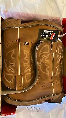 Brand New Men's Justin Work boots Size 8 Rustic Tan Waterproof Free MP3 player