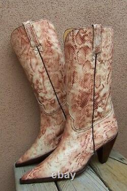 CHARLIE 1 HORSE Womens Cowboy Western Boots Exotic Tan Brown Snakeskin Size 7B