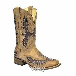 CORRAL Men's Tan With Brown Inlay Square Toe Cowboy Boots A3099