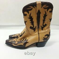 Charlie Horse Tan & Brown Contrast Cowboy Boots Hand Crafted in Brazil Womens 8