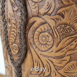 Cock of the Walk Brown Tan Leather Pointed Toe Hand Painted Cowboy Boots sz 7.5