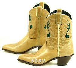Code West Tan Ankle Cowboy Boots Inlay Green Music Note Vtg US Made Women's 6.5
