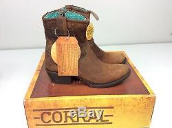 Corral Boots C1064 Chocolate/tan Leather Cowboy Boots Size 7.5 Distressed