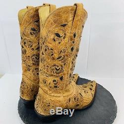 Corral Boots Mens Cowboy Boot Tan Leather Floral Print Ranch Western Size 9.5D