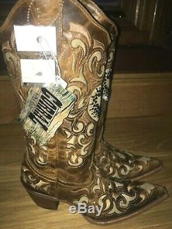 Corral Light Tan leather crystal cowgirl boots line dance country western uk 4