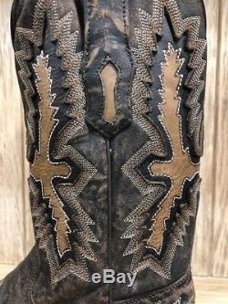 Corral Men's Chocolate Brown and Tan Inlay Square Toe Western Boots A3100