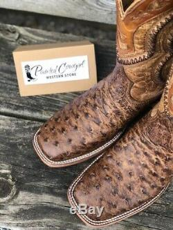 Corral Men's Orix Tan Ostrich Overlay & Woven Square Toe Western Boots A4008