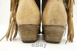 Corral Tan Brown Leather Side Fringe Cowboy Western Boots Women's 7 M