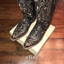 Corral Vintage A1926 Butterfly Inlay Black Tan Boots Cowboy Western Cowgirl 9 M