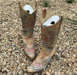 Corral Vintage Tan Peace Heart Blue Angel Wings Women's Size 9M Cowboy Boots