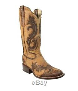 Corral Women's Overlay Studded Square Toe Cowboy Western Boots Tan G1348