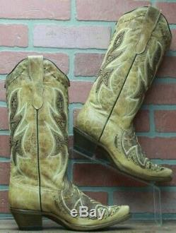 Corral Women's Tan Stray Overlay Woven & Studs Cowboy Boots E1273 Size 7 M