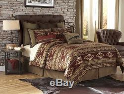 Country Bedding King Comforter Set Southwestern Cowboy Western Wild West Tan Red