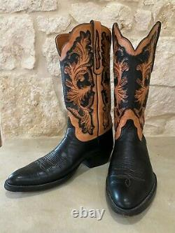 Cowboy Boots Black Vamp and Custom Tooled Tan Shaft by Wild Bill 11.5D