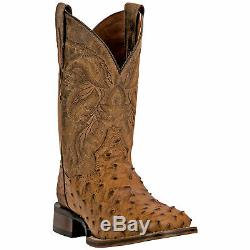 Dan Post Mens Alamosa Western Cowboy Boots Ostrich Leather Square Toe Tan/Brown