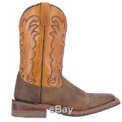 Dan Post Mens Ferrier Work We Western Cowboy Boots Leather Square Toe Tan/Spice