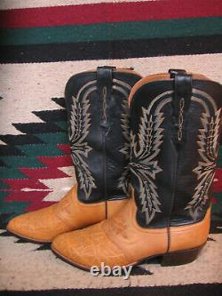 EXCEPTIONAL BLACK & TAN LUCCHESE SADDLE STYLE COWBOY BOOTS With EXOTIC INSETS 10D