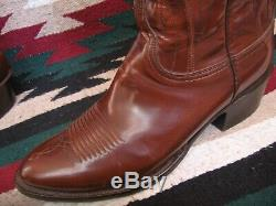 Exceptional Mens Lucchese Handmade Saddle Tan Imported Goatskin Cowboy Boots 10d