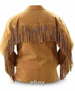 FREE GLOBAL DELIVERY Men Suede Western Cowboy Leather Jacket With Fringe Tan B