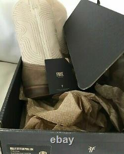 FRYE BOOTS Billy Stitch Pull on Western Boot Off White/Tan Sz 9M $348 NEW With BOX