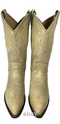 FRYE Billy Pull On Light Tan Washed Vintage Leather Cowboy Boots Womens Sz 9.5B