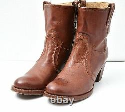 FRYE Jane Trapunto Sz 10 B Tan Leather Western Riding Boots Stacked Wood Heel