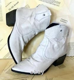 Free People Cowboy Ankle Boot Ruched Ivory Tan Distressed Leather Zip 39 / 9 NEW