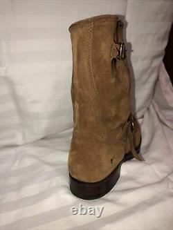 Frye John Addison Tan Suede/rough Out Leather Engineer Boots 10 D, Vibram Sole