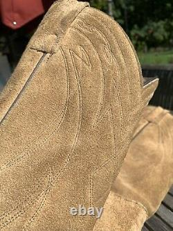 Frye Mens Tan Suede Pull On Western Cowboy Boots Size 12 D